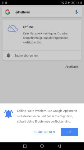 Bei der ersten Offline-Suche wird dem Nutzer die neue Funktion vorgestellt. (Screenshot: Golem.de)