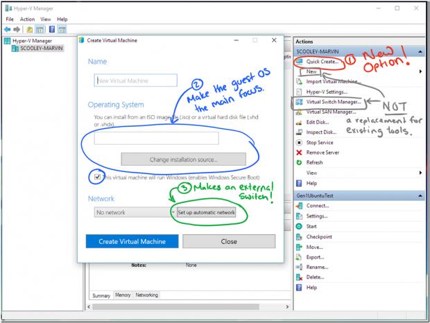 Der neue Hyper-V Quick-Create-Assistent (Bild: Microsoft)