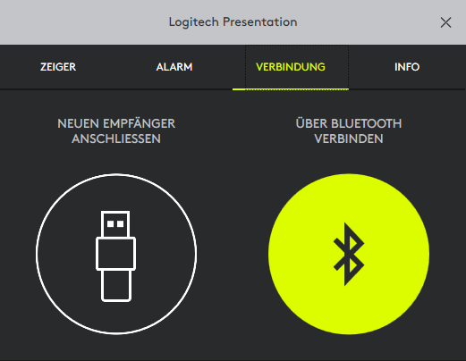 Spotlight kann über Bluetooth oder den USB-Dongle kommunizieren. (Screenshot: Oliver Nickel/Golem.de)