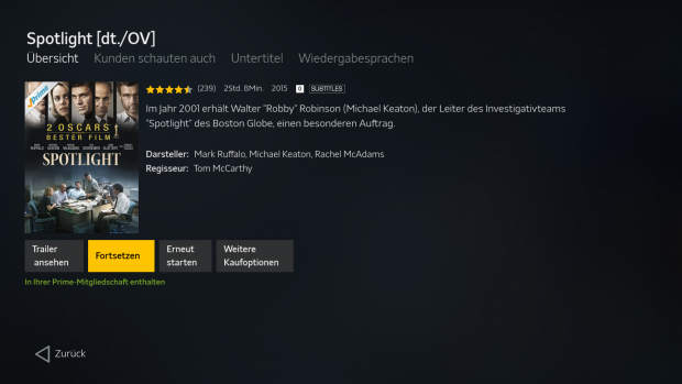 In der Amazon-App lassen sich keine Titel auf die Watchlist setzen. (Screenshot: Golem.de)