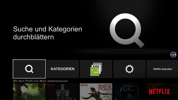 Sprachsteuerung in Netflix gibt's nicht. (Screenshot: Golem.de)