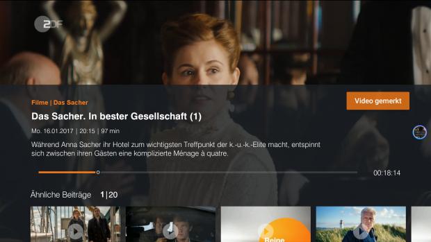 Die ZDF-Mediathek blendet im Pausenmodus eine Inhaltsangabe ein. (Screenshot: Golem.de)