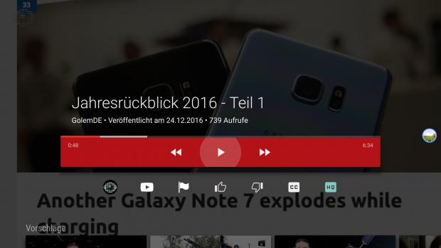 Das Bildschirmmenü der Youtube-App verdeckt fast das gesamte Bild. (Screenshot: Golem.de)
