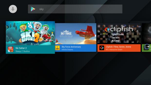 Im Android-TV-Play Store fehlen viele Titel, etwa eine Sky-App, ... (Screenshot: Golem.de)