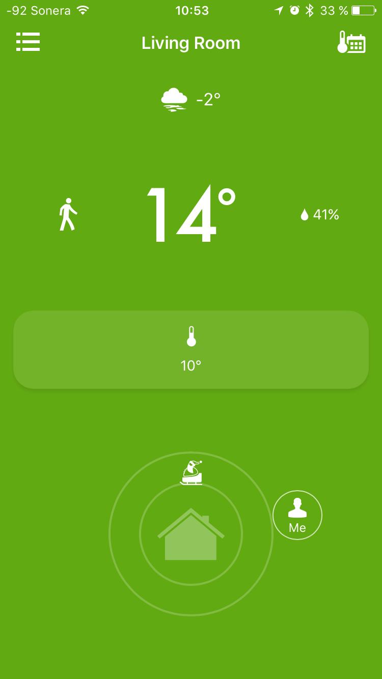 Tado im Test: Heizkörperthermostate mit effizientem Stalker-Modus - In Helsinki angekommen, zeigt die Wohnung einen weiteren Temperaturverlust. (Screenshot: Golem.de)