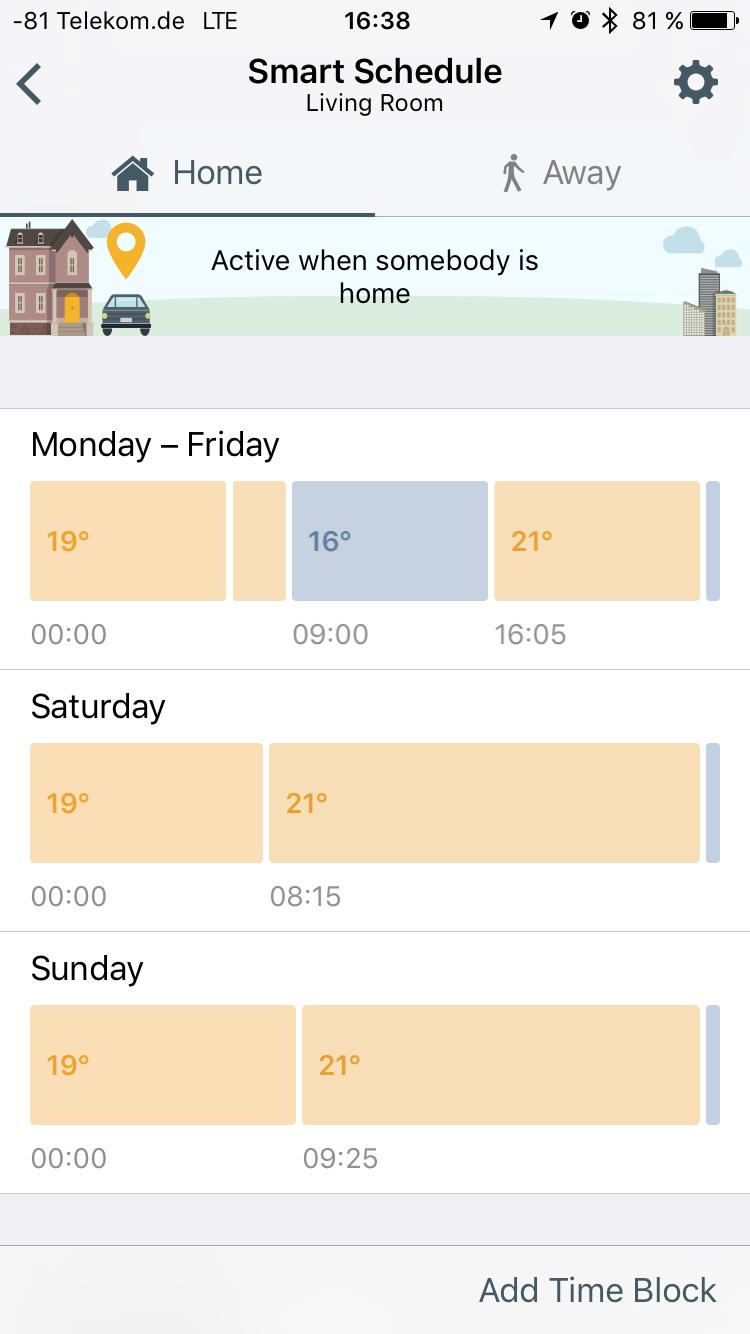 Tado im Test: Heizkörperthermostate mit effizientem Stalker-Modus - Die Zeitplanung ist recht fein einteilbar. (Screenshot: Golem.de)
