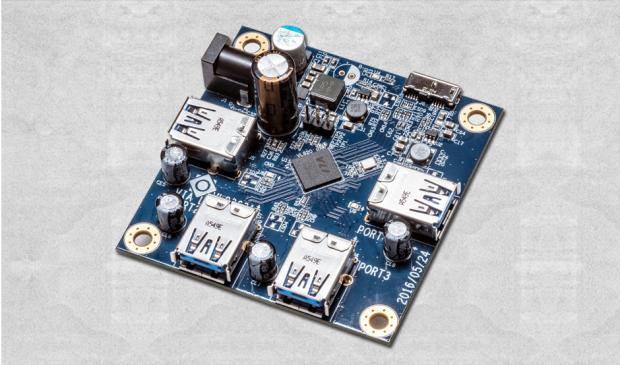 Platine mit VL820-Hub-Controller (Bild: Via Labs)