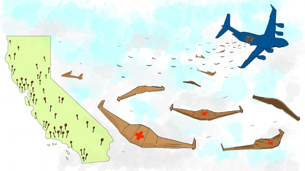Einsatz für die Einwegdrohnen: Sie werden aus einem Flugzeug in großer Zahl abgeworfen. (Bild: Otherlab)