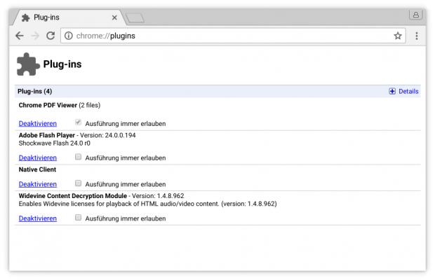 In Chrome 56 lassen sich Plugins noch einfach verwalten, ... (Screenshot: Golem.de)