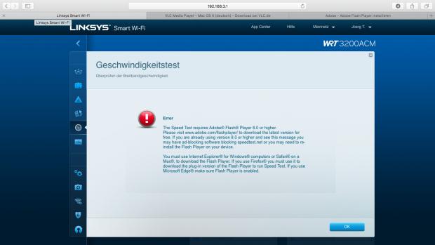 Der integrierte Speedtest misst die Geschwindigkeit der Internetverbindung, erfordert aber einen Flash-Player. (Screenshot: Golem.de)