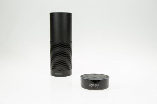 Links der Echo und rechts der Echo Dot (Bild: Martin Wolf/Golem.de)