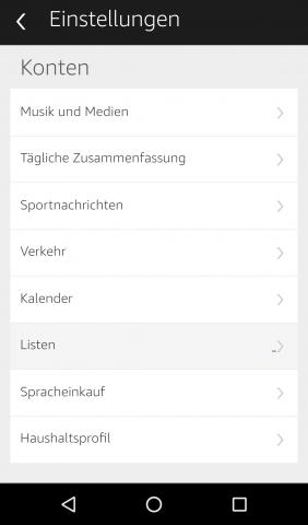 In der Alexa-App finden sich verschiedene Einstelloptionen für die Echo-Lautsprecher. (Screenshot: Golem.de)