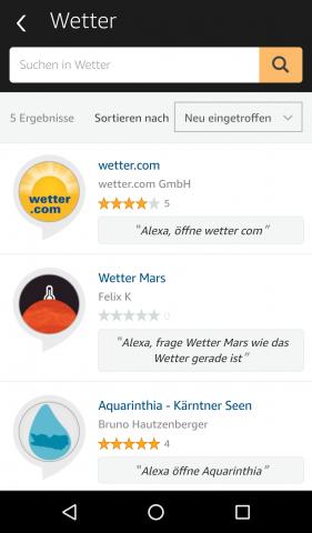 Der Skill von Wetter.com ist der erste alternative Wetter-Skill für Alexa. (Screenshot: Golem.de)