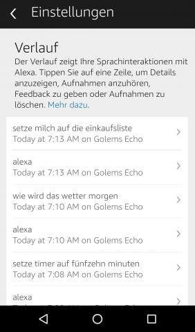 Im detaillierten Verlauf tauchen alle Sprachkommandos auf und können bei Bedarf einzeln gelöscht werden. (Screenshot: Golem.de)