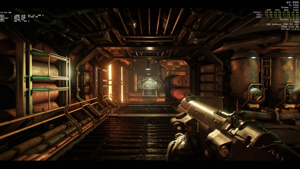 Doom mit Afterburner-OSD [links] und Vulkan-API [rechts] (Screenshot: Marc Sauter/Golem.de)