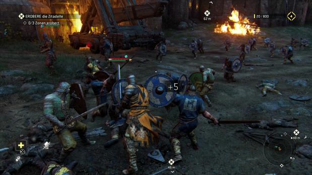 Die Gegner in Massenschlachten können wir nicht aufschalten - ein paar Schwerthiebe reichen aber meist aus. (Screenshot: Golem.de)