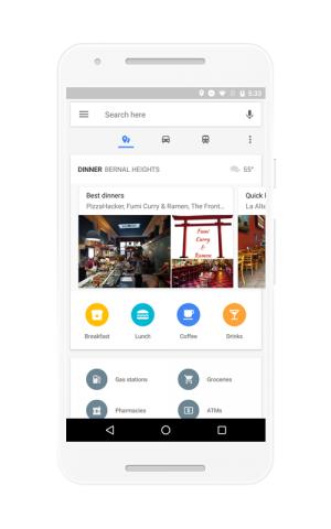 Die geöffnete Umgebungsübersicht der aktualisierten Maps-App für Android (Bild: Google)
