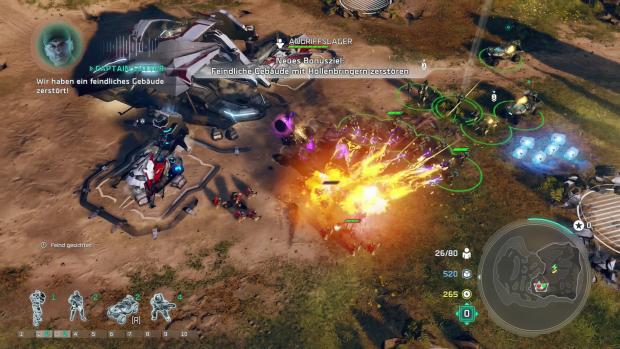 Im Auftrag des obersten Befehlshabers Captain Cutter haben wir ein feindliches Lager zerstört. (Screenshot: Golem.de)