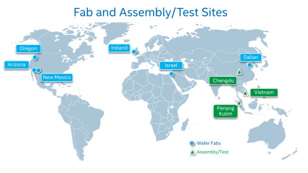 Standorte von Fabs weltweit - in Dalian entsteht Flash (Bild: Intel)