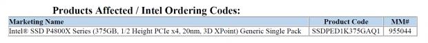 Die Optane-SSD 4800X weist 375 GByte auf. (Bild: Intel)
