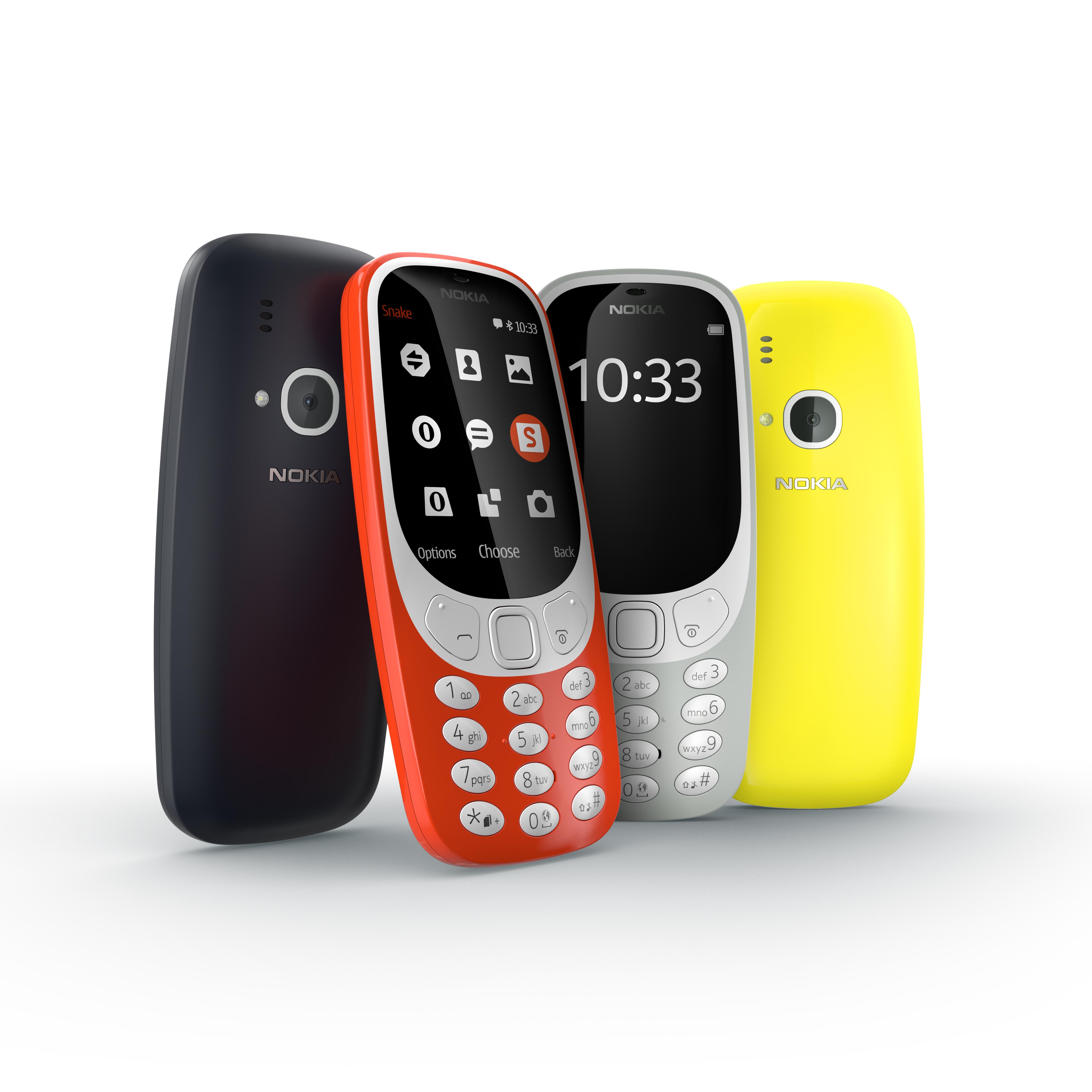 Handy-Klassiker: HMD Global bringt das Nokia 3310 zurück - Das Nokia 3310 kommt in vier Farbvarianten in den Handel. (Bild: HMD Global)