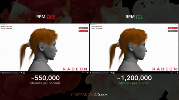 Rapid Packed Math ermöglicht gut doppelt so viele Strähnen bei gleichen Fps (Bild: AMD)