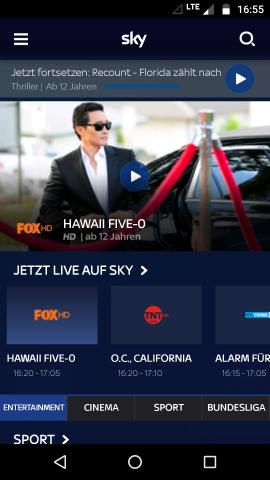 Startbildschirm der Sky-Ticket-App auf einem Android-Smartphone (Screenshot: Golem.de)