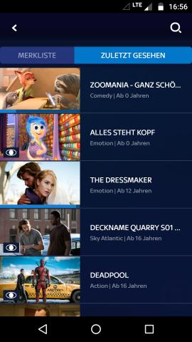 In der Android-App gibt es einen Bereich der zuletzt gesehenen Inhalte, die Apple-TV-App kennt das nicht. (Screenshot: Golem.de)