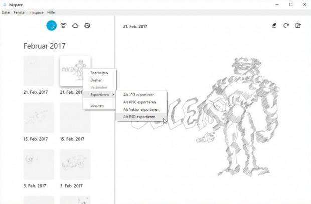 Inkspace ermöglicht Exporte in viele gängige Bildformate. (Screenshot: Oliver Nickel/Golem.de)