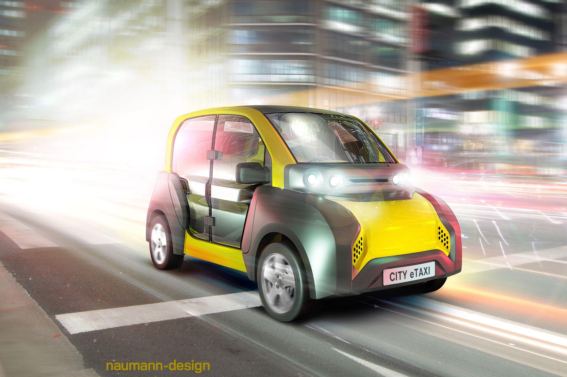 City E-Taxi: Ein Elektrotaxi mit Durchblick - Das Auto soll auf der Cebit 2017 vorgestellt werden. (Bild: Naumann-Design)