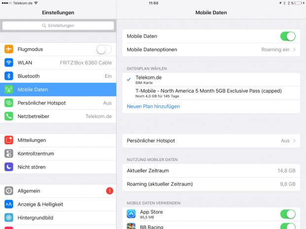 Die eSim auf dem iPad zusammen mit einer physischen SIM. (Screenshot: Golem.de)
