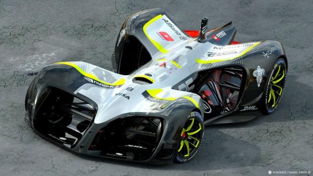 The Robocar ist ein unbemanntes Rennauto mit Elektroantrieb. (Bild: Roborace)