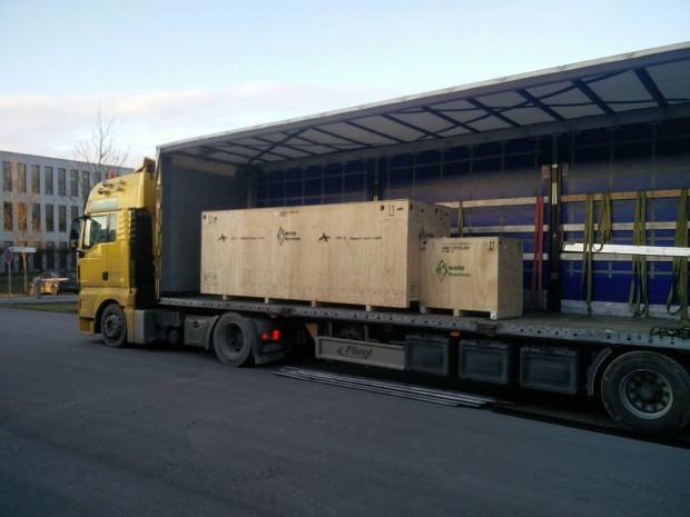 Die Kapsel ist verpackt und auf dem Weg in die USA. (Foto: Warr)
