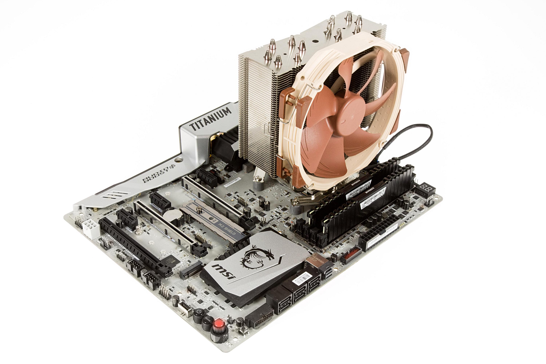 """Ryzen 7 1800X im Test: """"AMD ist endlich zurück"""" - Unsere Testplattform mit MSIs X370 Xpower Gaming Titanium und Noctua NH-U14S (Foto: Martin Wolf/Golem.de)"""