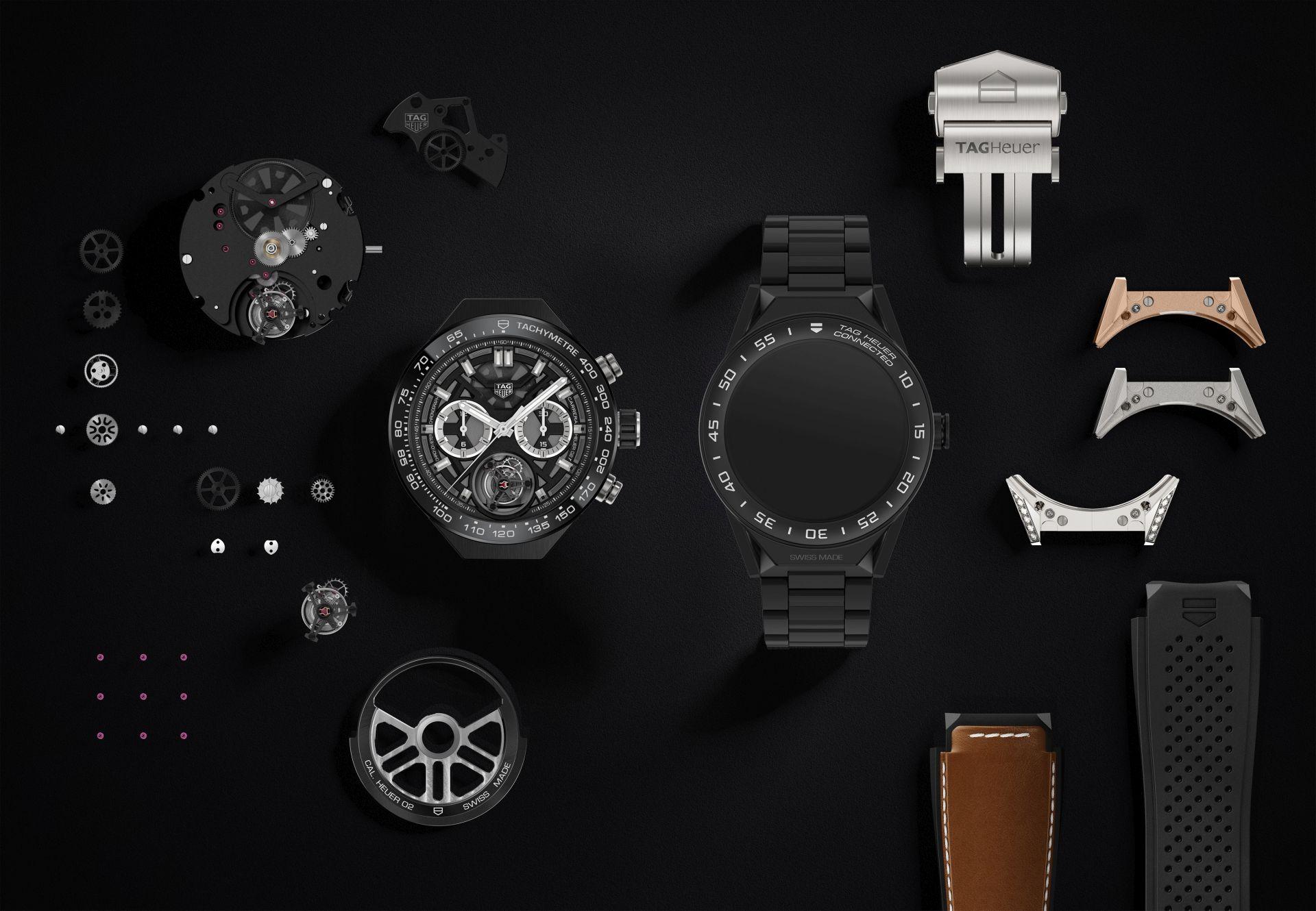 Connected Modular 45: Tag Heuers neue Smartwatch kommt mit mechanischem Uhrwerk - Die Connected Modular 45 und ihre Einzelteile (Bild: Tag Heuer)