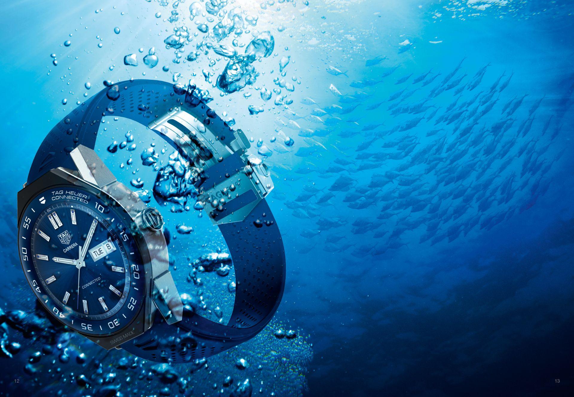 Connected Modular 45: Tag Heuers neue Smartwatch kommt mit mechanischem Uhrwerk - Die Connected Modular 45 ist bis zu einer Tiefe von 50 Metern wasserdicht. (Bild: Tag Heuer)