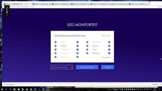 Der Monitortest bietet mehrere Diagnosetools an. (Screenshot: Golem.de)