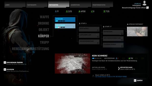 Nach und nach können wir Skills von uns und unsere Ausrüstung verbessern. (Screenshot: Golem.de)