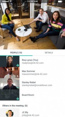 In einer Konferenz sind alle Mitglieder mit Videosignal sichtbar. (Bild: Google)