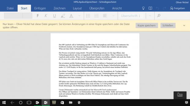 Word Mobile ist ein exzellentes Schreibprogramm. (Screenshot: Oliver Nickel/Golem.de)