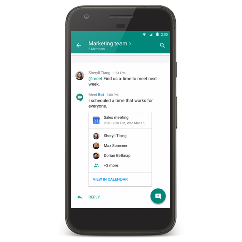 Der neue Textchat Hangouts Chat kann automatisch Meetings in den Google-Kalender eintragen. (Bild: Google)