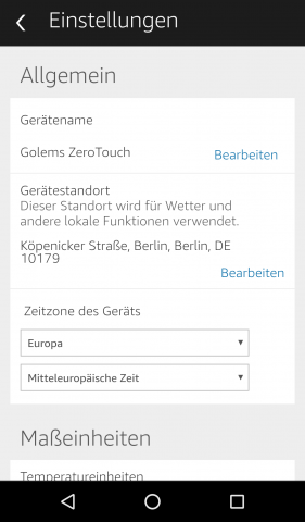 Die Zerotouch-App erscheint so in der Alexa-App. (Screenshot: Golem.de)