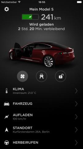 Tesla-App für iOS (Bild: Tesla)