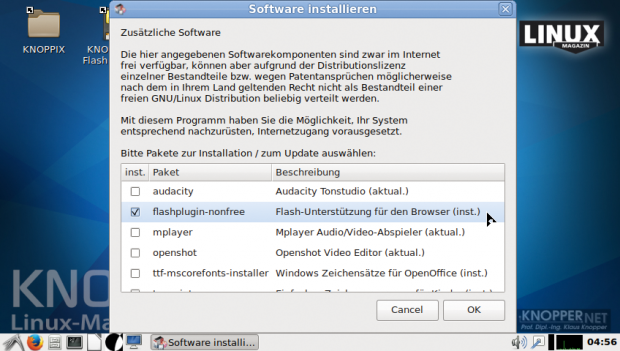 Die Install-Extras-Utility ermöglicht es, nicht standardmäßig installierte Softwarepakete komfortabel nachzuinstallieren. (Bild: Knoppix)
