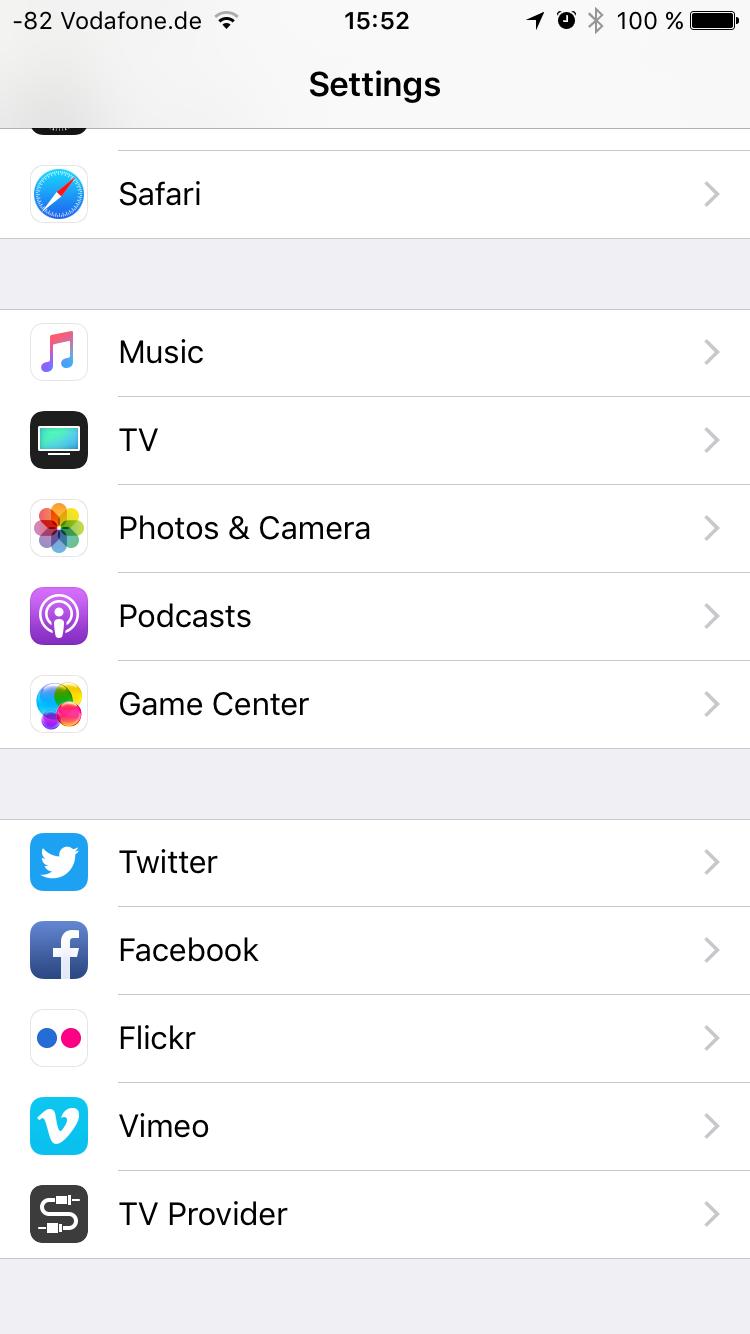 APFS unter iOS 10.3 im Test: Schneller suchen und ein bisschen schneller booten - TV-App in den Systemeinstellungen (Screenshot: Golem.de)