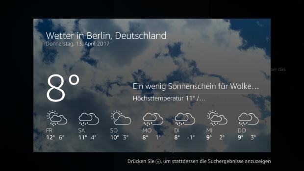 Per Sprachsteuerung können wir das Wetter abrufen. (Screenshot: Oliver Nickel/Golem.de)