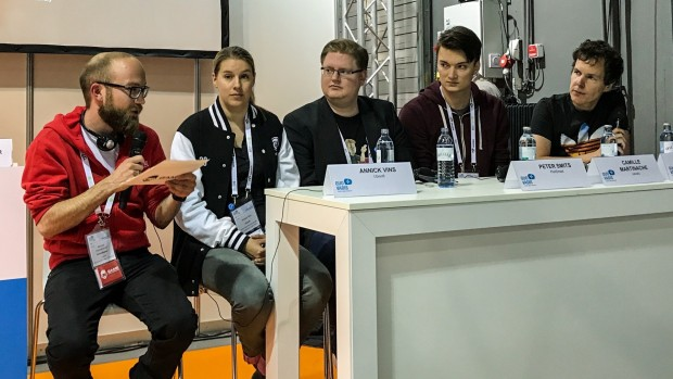 Moderator Michael Albertshauser, Annick Vins (Ubisoft), Peter Smits, Camille Martinache (Nevaly), Fabian Doehla (CD Projekt Red) (v. l. n. r.) (Foto: Peter Steinlechner/Golem.de)
