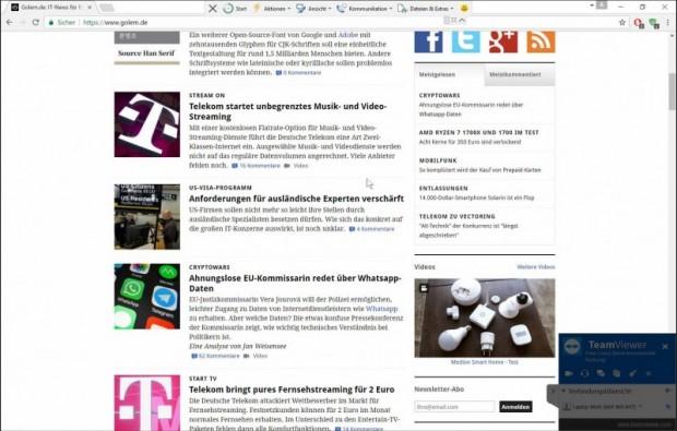 In Teamviewer ist scrollen ohne großes Ruckeln möglich. (Screenshot: Oliver Nickel/Golem.de)