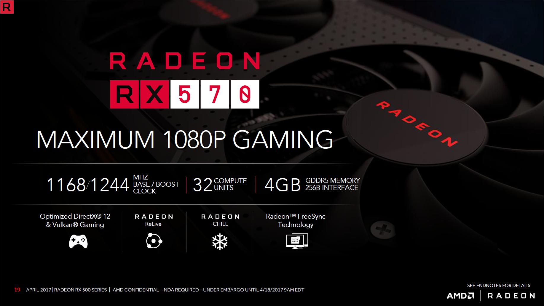 Radeon RX 580 und RX 570 im Test: AMDs Grafikkarten sind schneller und sparsamer - Technische Daten der Radeon RX 570 (Bild: AMD)
