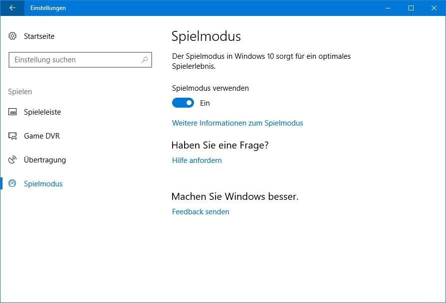 Creators Update: Game Mode macht Spiele runder und Windows 10 ruckelig - Der Spielmodus ist Teil des Creator's Updates (Screenshot: Golem.de)